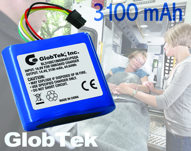 Providing foolproof rechargeable power for any portable device, the BL3100C18650XSXPPGQA Li-Ion battery pack from GlobTek has both a built-in charger and fuel gauge circuitry to ensure both safe operation...