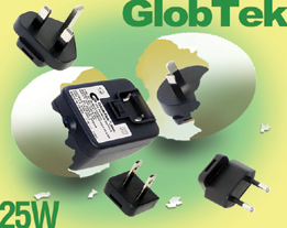 RoHS and Energy Star Wall Plug-in Power Supplies Have Interchangeable International Blades 25W