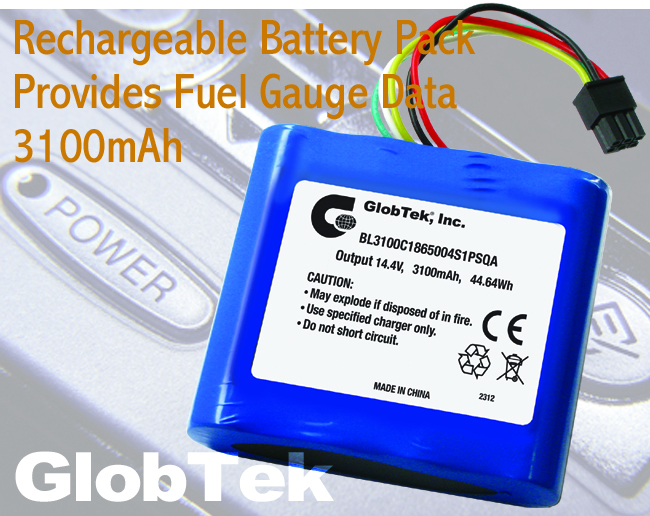 Providing smart rechargeable power capability to advanced portable and remote devices, the BL3100C1865004S1PSQA Li-Ion Battery Pack from GlobTek incorporates fuel-gauge functionality to provide important...
